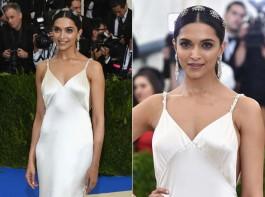Bollywood actress Deepika Padukone looks like a princess at Met Gala 2017 red carpet.