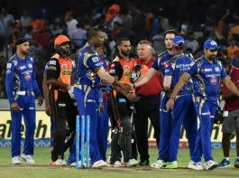 Defending champions Sunrisers Hyderabad strengthened their hold on the fourth and final play-offs spot of the Indian Premier League (IPL) as they thumped top-placed Mumbai Indians by seven wickets at the Rajiv Gandhi International Stadium here on Monday. Playing their final home game of the league stage, Hyderabad restricted Mumbai to 138/7 in 20 overs, before Shikhar Dhawan (62 not out off 46 deliveries) and Moises Henriques (44 off 35) shared a 91-run stand for the second wicket to steer them home with 1.4 overs to spare. Following this win, Hyderabad, having 15 points from 13 games, eliminated Delhi Daredevils (eight points from 11 games) from the race to the play-offs. But Hyderabad's place in the knock-outs are not confirmed, as fifth-placed Kings XI Punjab (10 points from 11 matches) can still qualify for the play-offs. Only Mumbai have sealed their berth in the play-offs, while Kolkata Knight Riders (16 points from 12 matches) and Rising Pune Supergiant (16 points from 12 matches) are strong contenders.