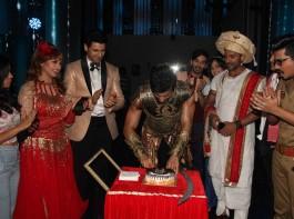 Television actor Karan Tacker during his birthday celebration on the sets of Star Plus TV show Nach Baliye Season 8 in Mumbai on May 9, 2017.
