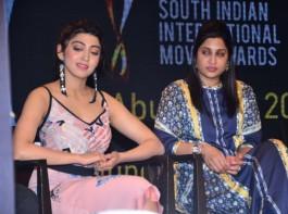 South Indian actress Pranitha Subhash spotted at SIIMA Short Film Awards 2017.