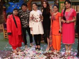 Bollywood actress Manisha Koirala promotes Dear Maya on the sets of The Kapil Sharma Show.