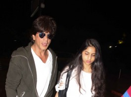 Bollywood actor Shah Rukh Khan spotted with daughter Suhana at airport.