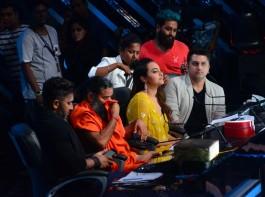 Bollywood choreographer Terence Lewis, Yoga guru Baba Ramdev, actor Sonakshi Sinha and filmmaker Mohit Suri, on the sets of Star Plus TV show Nach Baliye Season 8 in Mumbai on May 16, 2017.