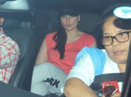Bollywood actress Kareena Kapoor spotted at Bandra along with her baby boy Taimur Khan.