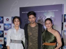 Bollywood actors Rhea Chakraborty, Saqib Saleem and Huma Qureshi during the song launch of Kari Kari from the film Dobaara in Mumbai on May 16, 2017.