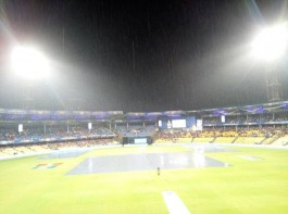 Kolkata Knight Riders (KKR) captain Gautam Gambhir led from the front to knock defending champions Sunrisers Hyderabad out of the Indian Premier League (IPL) with a seven-wicket win and made to Qualifier 2 in a rain-interrupted eliminator clash at the M. Chinnaswamy Stadium here on Thursday. KKR will take on Mumbai Indians on Friday at the same venue. Chasing 48 to win in six overs after rain and wet outfield ate up a large chunk of playing time, forcing Duckworth-Lewis method to come into play, Gambhir steadied the ship after KKR were 12/3 at one stage with an unbeaten 19-ball 32. Ishank Jaggi, playing his first match, was not out on five. At the start, Chris Lynn was on the money right away, smacking Bhuvneshwar Kumar for a six in the first ball he faced.