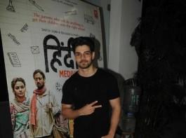 Sooraj Pancholi spotted at Hindi Medium special screening in Mumbai on May 17, 2017.