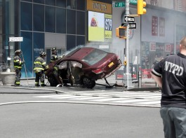 A vehicle that struck pedestrians and later crashed is seen on the sidewalk in Times Square in New York City, May 18, 2017.