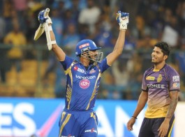 Krunal Pandya's unbeaten 30-ball 45 helped Mumbai Indians record a facile six-wicket win over Kolkata Knight Riders (KKR) in their Indian Premier League (IPL) second qualifier clash at the M. Chinnaswamy Stadium here on Friday. Mumbai, who finished on 111/4 in 14.3 overs, will now take on Steve Smith's Rising Pune Supergiant in the final on Sunday. Chasing just 108, Krunal joined hands with skipper Rohit Sharma for a 54-run fourth wicket stand to steady Mumbai's ship after early hiccups which left them on 34/3 at one stage. Rohit (26) gave away his wicket cheaply, picking out Ankit Rajpoot at deep square leg off Nathan Coulter-Nile's delivery. KKR caused a flutter among Mumbai ranks scalping three wickets inside the first six overs.
