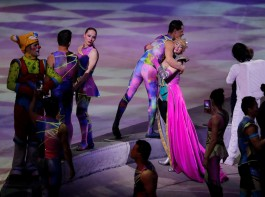 Performers embrace after the last show of the Ringling Bros. and Barnum & Bailey circus at Nassau Coliseum in Uniondale, New York.