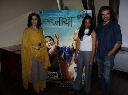 Bollywood actress Manisha Koirala, filmmakers Sunaina Bhatnagar and Imtiaz Ali during the media interaction of film Dear Maya in Mumbai on May 22, 2017.