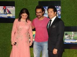 Former Indian cricket player Sachin Tendulkar, Anjali Tendulkar and Bollywood actor Aamir Khan during the premiere of film Sachin: A Billion Dreams in Mumbai on May 24, 2017.