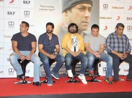 Bollywood actor Salman Khan, filmmaker Kabir Khan and actor Sohail Khan during the trailer launch of film Tubelight, in Mumbai on May 25, 20-17.