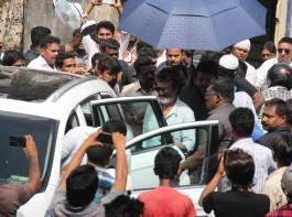 South Indian actor Rajnikanth spotted during the shoot of Tamil film Kaala Karikaalan in Mumbai on May 29, 2017.