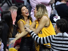 TV personalities Kourtney Kardashian, Khloe Kardashian and Kris Jenner react in Game 4 of the 2017 NBA Finals between the Golden State Warriors and the Cleveland Cavaliers at Quicken Loans Arena on June 9, 2017 in Cleveland, Ohio.