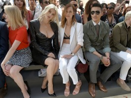Ashley James and Charlotte de Carle attend the LFWM John Smedley S/S 18 Show hosted by St James's in Jermyn Street in London, England on June 10, 2017.