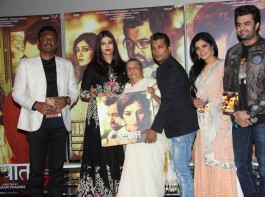 Fashion designer Vikram Phadnis, Bollywood actor Aishwarya Rai and Marathi film actor Mukta Barve during the music launch of marathi film Hrudayantar in Mumbai.
