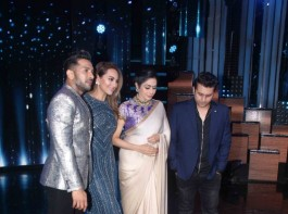 Bollywood actress Sonakshi Sinha, Sridevi, Bollywood choreographer Terence Lewis and filmmaker Mohit Suri on the sets of Nach Baliye Season 8, in Mumbai on June 13, 2017.