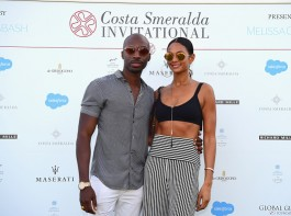 Alesha Dixon and Azuka Ononye attend the Welcome Dinner prior to The Costa Smeralda Invitational golf tournamen at Pevero Golf Club.