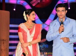 CAB chief Sourav Ganguly with actress Sridevi on the sets of television show