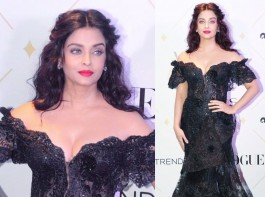 Actress Aishwarya Rai Bachchan at Vogue Beauty Awards 2017.