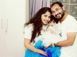 South Indian actress Muktha with her husband Rinku Tomy during the first birthday celebration of their daughter Kanmani.