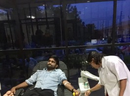 To mark completion of 40 years of superstar Chiranjeevi's film career, his fans have organised blood donation events in India, the United States and the Middle East. Ravanam Swami Naidu, founder president of Akhila Bharata Chiranjeevi Yuvatha, organized 400 blood donation events across India and reached out to the global community to conduct similar activities.