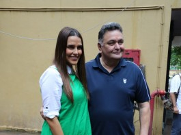 Indian film actor Rishi Kapoor was spotted with Neha Dhupia.