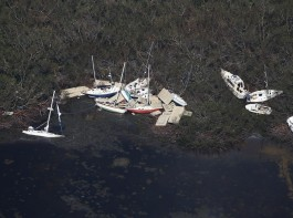 Boats washed ashore in Marathon.