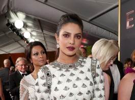 Bollywood actress Priyanka Chopra stepped out in a figure hugging white custom-made Balmain mermaid creation at the 69th Primetime Emmy Awards.