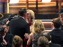 Actors Alexander Skarsgard (L) and Nicole Kidman kiss during the 69th Annual Primetime Emmy Awards at Microsoft Theater on September 17, 2017 in Los Angeles, California.