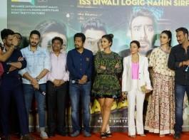 Actors Ajay Devgan, Parineeti Chopra, Johnny Lever, Arshad Warsi, Tusshar Kapoor, Kunal Khemu, Johnny Lever, Shreyas Talpade and Director Rohit Shetty during the trailer launch of their upcoming film