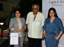 Actress Sridevi & Boney Kapoor at Launch of IPhone 8 & IPhone 8+ at iAzure in Mumbai.
