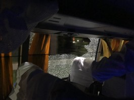 Australia's cricket squad suffered a scare after a stone was thrown at their bus on its return to a city hotel from the Barsapara Cricket Stadium here. The incident took place on Tuesday night after Australia defeated India by eight wickets in the second Twenty20 International (T20I).
