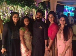 Ram Charan with his wife Upasana at Chiranjeevi's Pre-Diwali dinner party.