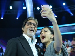 Actress Taapsee Pannu says she is addicted to sharing screen space with megastar Amitabh Bachchan. She once again shared screen space with Big B in his game show