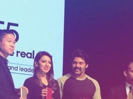 Actor Arya and Hansika Motwani launches Oppo F5 in Kochi.