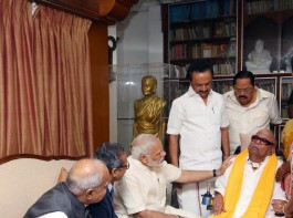 Prime Minister Narendra Modi on Monday called on DMK President M. Karunanidhi and enquired about his health.