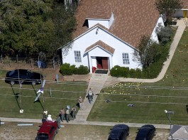 An aerial photo showing the site of a mass shooting at the First Baptist Church of Sutherland Springs, Texas, U.S., November 6, 2017.