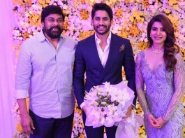 Chiranjeevi at Naga Chaitanya and Samantha Akkineni Wedding Reception.