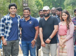 Kannada superstar Puneeth Rajkumar visits Allu Sirish's Okka Kshanam film sets in Bangalore.