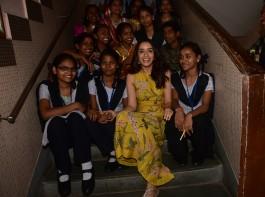 Bollywood actress Shraddha Kapoor visits and spend time with the children of Prabhadevi Municipal School.