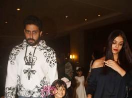 Abhishek Bachchan and Aishwarya Rai Bachchan attend their daughter Aaradhya.