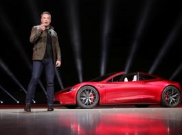 Tesla CEO Elon Musk unveils the Roadster 2 during a presentation in Hawthorne, California.