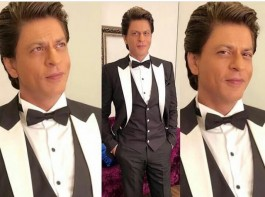 Bollywood actor Shah Rukh Khan looks handsome as he graces the Lux Golden Rose Awards 2017 red carpet.