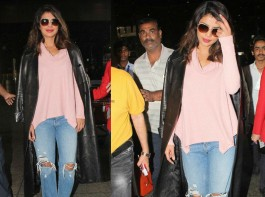 Bollywood actress Priyanka Chopra makes a stylish return to Mumbai from New York.