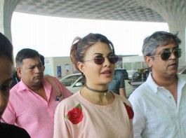 Actress Jacqueline Fernandez snapped at Mumbai Airport.