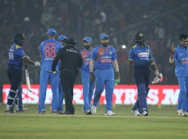 India put up a strong all-round show to register their biggest Twenty20 International (T20I) win in terms of runs -- 93 -- in the first match against Sri Lanka at the Barabati Stadium here on Wednesday. Opener Lokesh Rahul (61) played sensibly at the top order before Mahendra Singh Dhoni (39 not out) and Manish Pandey (32 not out) finished off the proceedings in style to take India to 180/3.