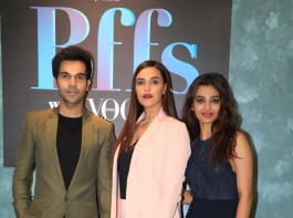 Rajkummar Rao, Neha Dhupia and Radhika Apte pose for camera during their visit on the set of Infinity TV Serial Vogue BFFs.