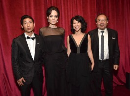 Pax Jolie-Pitt, Angelina Jolie and Loung Ung attend the Netflix Golden Globes after party at Waldorf Astoria Beverly Hills on January 7, 2018 in Beverly Hills, California.